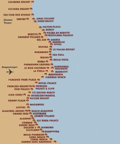 Карта отелей Хургады